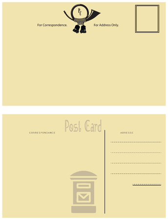 Reverse side vintage postcards from the post horn and a mailbox. Illusztráció