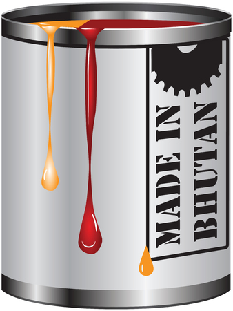 paint container: Metal container with red and orange paint, Made in Bhutan.