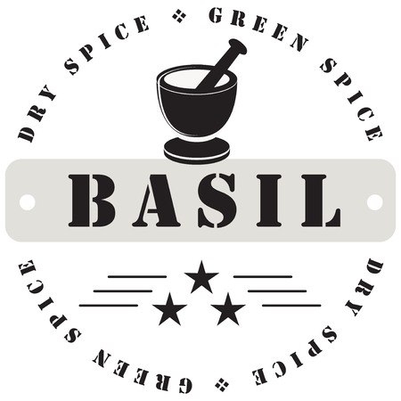Stamp print for spices - Basil. Иллюстрация
