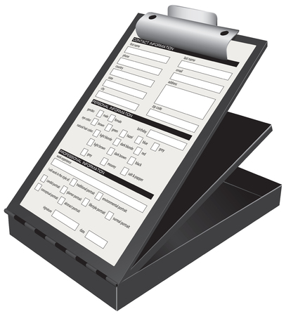 Employment Form photo models on a clipboard.