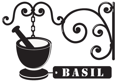 manner: Industrial Vintage signboard, for basil spices. The sign is made in a decorative manner.