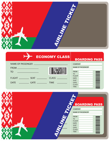 Service kit for air passengers Belarusian airlines - air ticket and envelope. Envelope and ticket made in the national colors of Belarus.