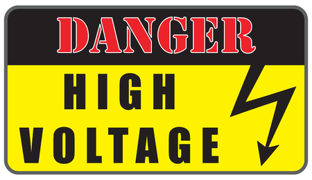 voltage sign: Warning plate Electrical Hazard High Voltage Sign.