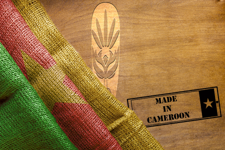 Creative on the topic Made in Cameroon, with the state flag. Banco de Imagens
