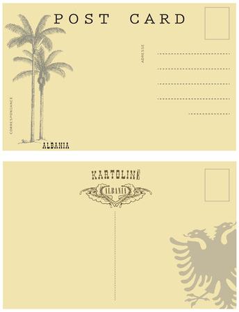 Vintage briefkaart Albanië. Achterkant van een oude ansichtkaart. Stock Illustratie