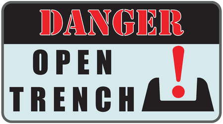 the trench: Industry warning sign Danger Sign - Open Trench. Illustration