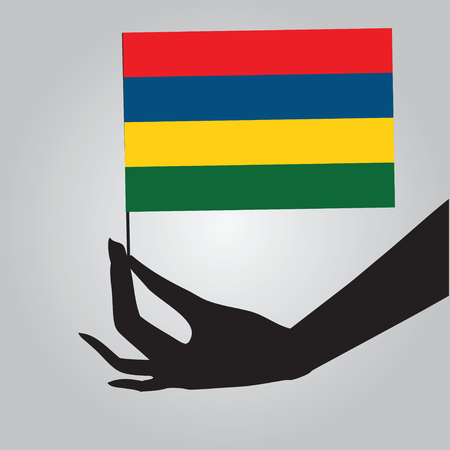 Flag of Mauritius in a female hand.