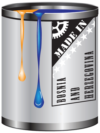 paint container: Metal container with red and orange paint, Made in Bosnia and Herzegovina.