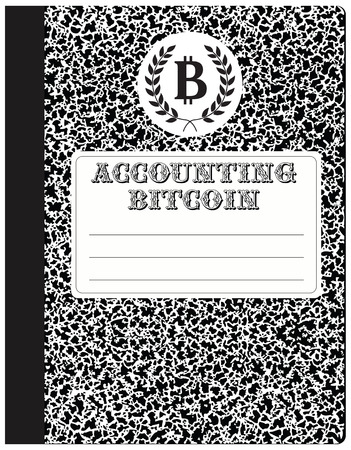 workbook: Workbook, accounting cryptocurrency - Bitcoin. Abstract notebook to record internet currency. Illustration