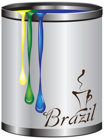 Abstract tin container of paint with colors of the flag of Brazil. Vectores