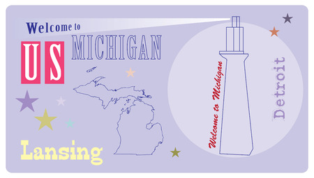 Banner for Michigan State with a lighthouse symbol, Welcome to Michigan.