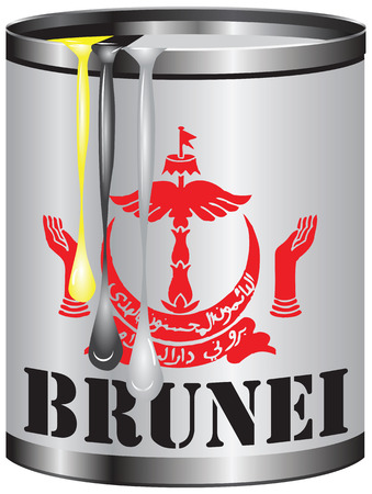 paint container: Abstract tin container of paint with colors of the flag of Brunei. Illustration