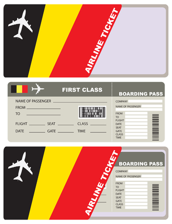 economy class: Tickets for air travel. Set ticket with envelope Belgian flag.