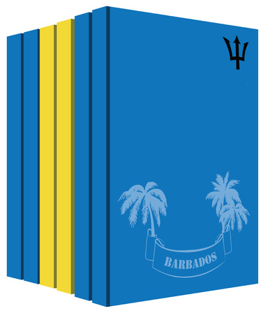 Libros sobre el país de Barbados. Bandera del símbolo Foto de archivo - 65568251