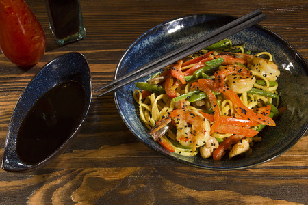 dish of Japanese cuisine seafood, noodles and vegetables