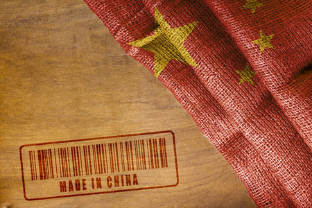 Chinas State flag and the stamp imprint of Made In China.