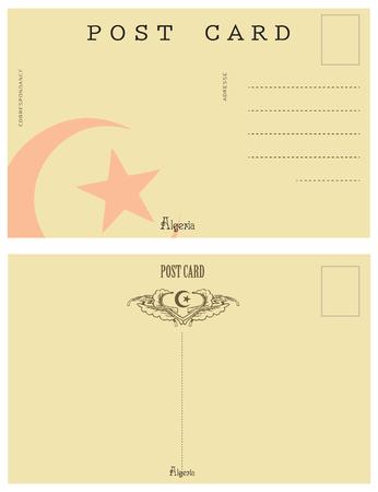 Vintage postcard Algeria. Back side an old postcard.