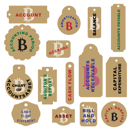 A set of labels for office cryptocurrency - Bitcoin.