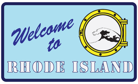 Creative sign Welcome to Rhode Island. Vector illustration.  イラスト・ベクター素材