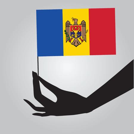 Flag of Moldova in a female hand. Vector illustration.