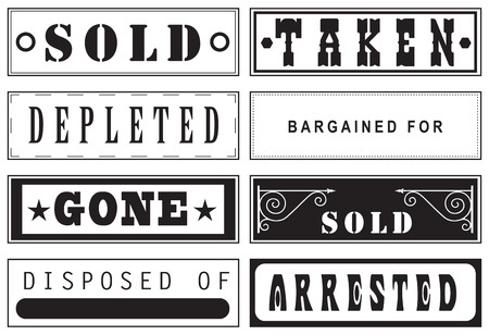 taken: Set stamp prints for recycling or sale.