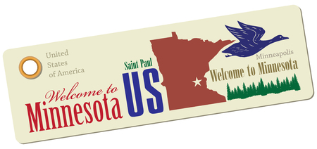 paul: Label Welcome to Minnesota for tourism. Vector illustration. Illustration