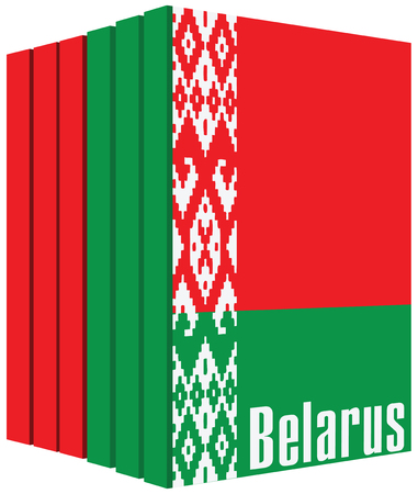 A set of books about Belarus, stylized cover under the state flag of the country.