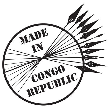 Postzegel Made in Congo Republic. Vector illustratie