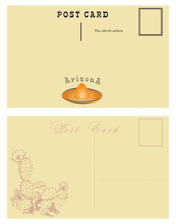 Vintage postal card for Arizona State, United States.