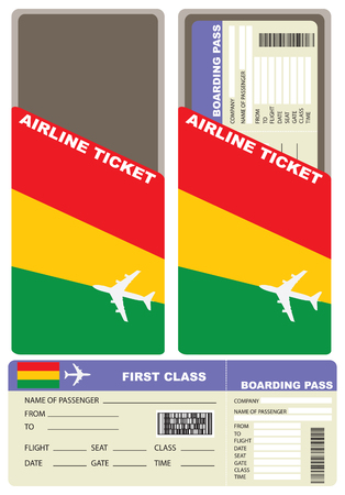 first form: Plane ticket first class in Bolivia. Vector illustration. Illustration