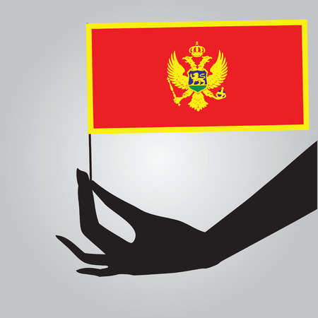Flag of Montenegro in a female hand. Vector illustration. Ilustrace