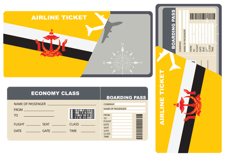 Economy class ticket for a flight to Brunei.