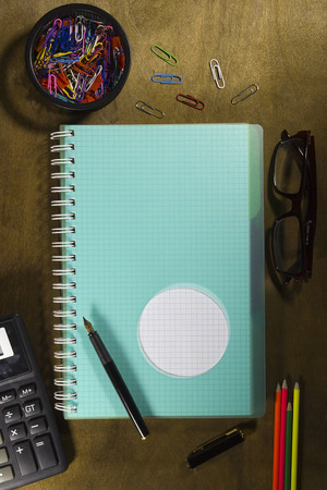 Notebook for records on a wooden table Stock Photo
