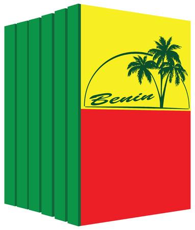Libros sobre el país de Benin. Símbolo de la bandera Foto de archivo - 72983177