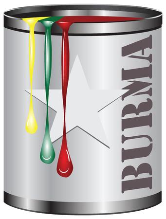塗料のセットで抽象的な工業用コンテナー、塗装色はビルマのフラグに対応します。  イラスト・ベクター素材