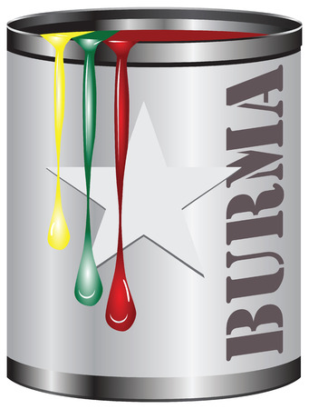 Abstract industrial container with a set of paints, paint color corresponds to the flag of Burma. Illustration