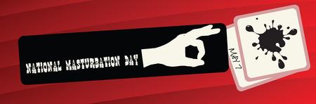 Funny banner to the National Day of Masturbation 版權商用圖片 - 73365006