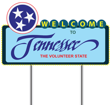 Road Stand Welcome to Tennessee, The Volunteer State. Illustration