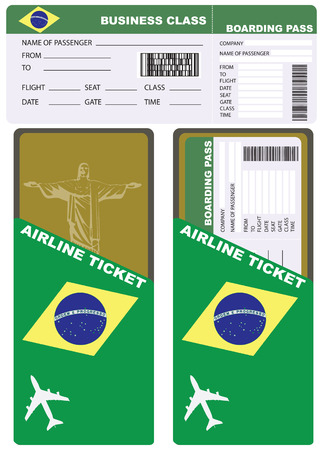 Plane ticket in business class flight to Brazil. Service kit air ticket.