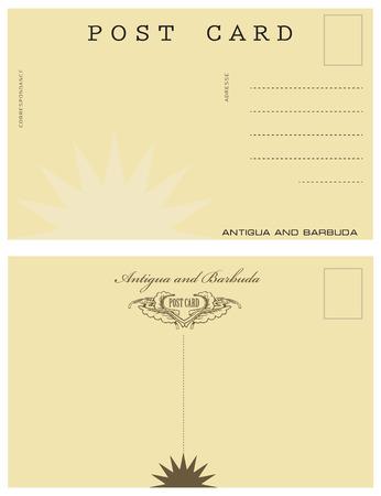 Vintage post card in Antigua and Barbuda Çizim