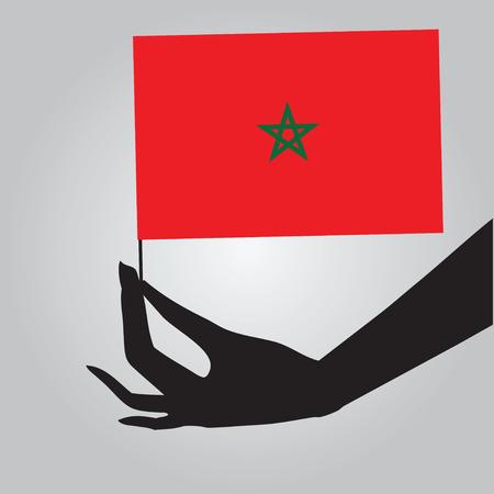 Flag of Morocco in a female hand. Vector illustration. Illusztráció