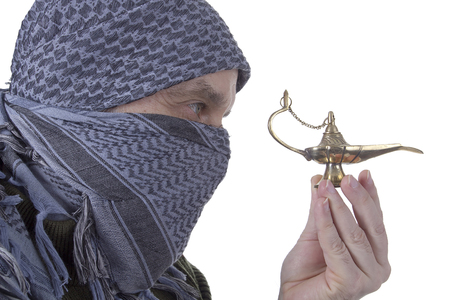 qameez: Arabic graying man with a lamp on a white background