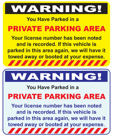 Two warnings options private parking area. Vector.