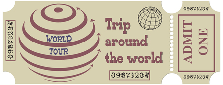 Ticket for a round-the-world cruise, the ticket is made in a vintage manner.