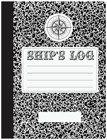 The cover of the ship's log with the name of the ship and additional information. Фото со стока - 74478472