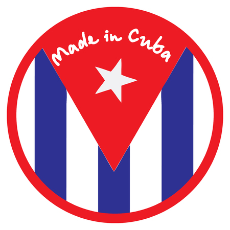 transnational: Made in Cuba, industrial stamp-label for product labeling. Illustration
