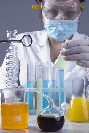 Adult lab assistant works in the laboratory Stok Fotoğraf