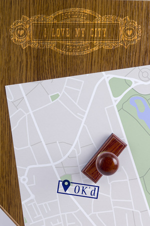 Abstract city map with a stamp OKd and a vintage marker I Love my city. Stok Fotoğraf