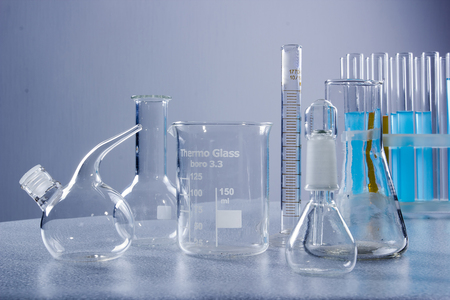 Close up of test tubes with liquids in the laboratory