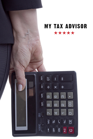 keep your hands: Poster, the hand of a professional tax consultant with a calculator Stock Photo